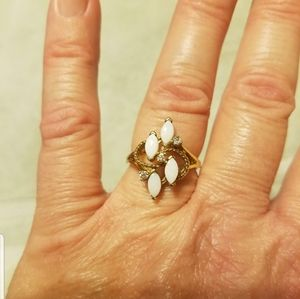 (October's birthstone) Opal and Rhinestone g